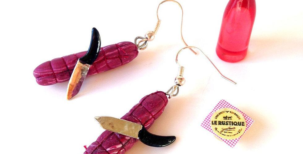 Boucles d'oreilles LE SAUCISSON, miniatures