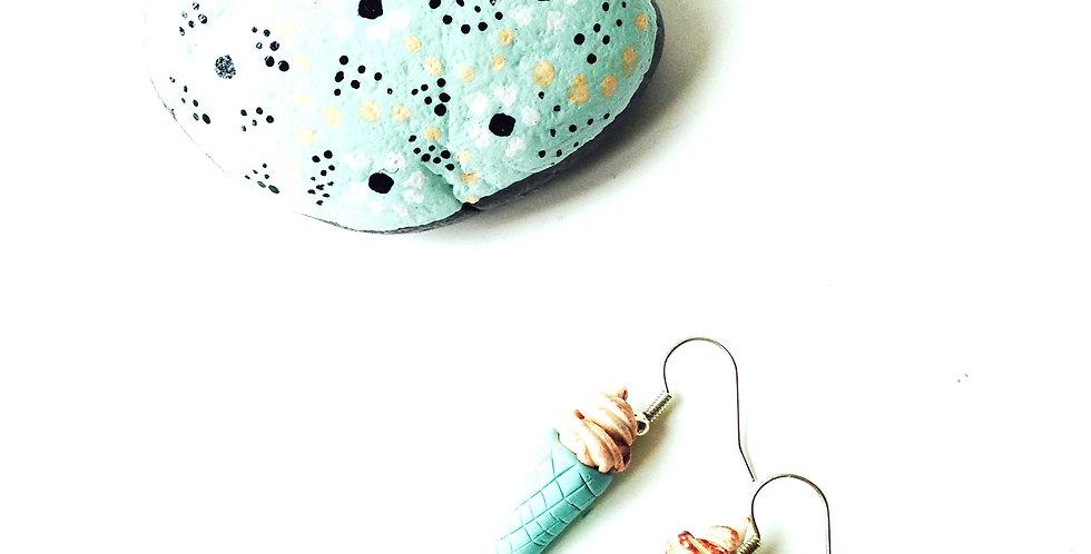 Boucles d'oreilles GLACES, miniatures, couleur menthe