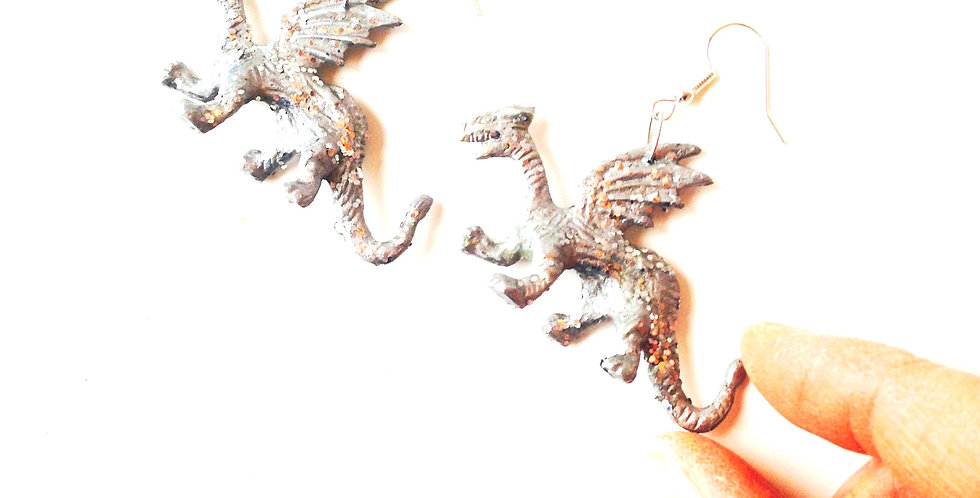 Boucles d'oreilles LES DINOPAILLETTES, calendrier de l'avent des créations #1