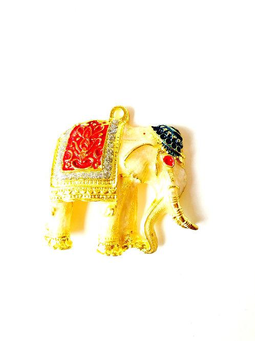 Pendentif Thaï éléphant, émaillé, crème et doré