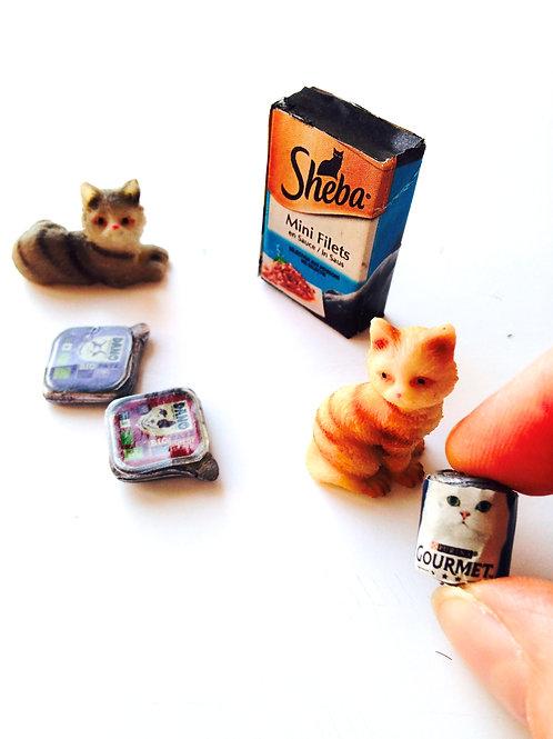 Nourriture pour chats miniature, faite main échelle 1:12ème, CHATS NON INCLUS