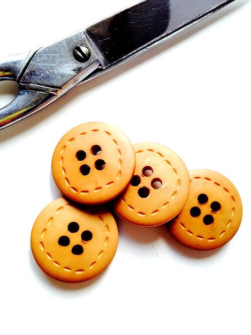 Lot de 4 boutons fantaisie en résine beige, imitation bois, diamètre 30 mm