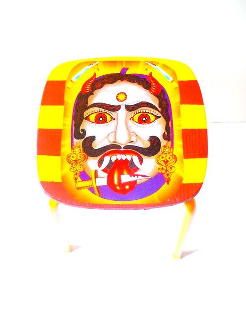 Tabouret SHIVA, tabouret formica relooké jaune et rouge,