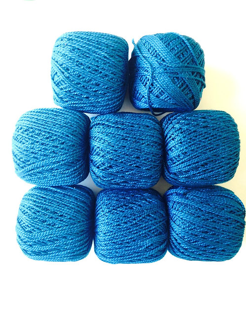 Lot de 7 pelotes 100% coton bleu canard pour tricot crochet (+ 1 entamée cadeau)