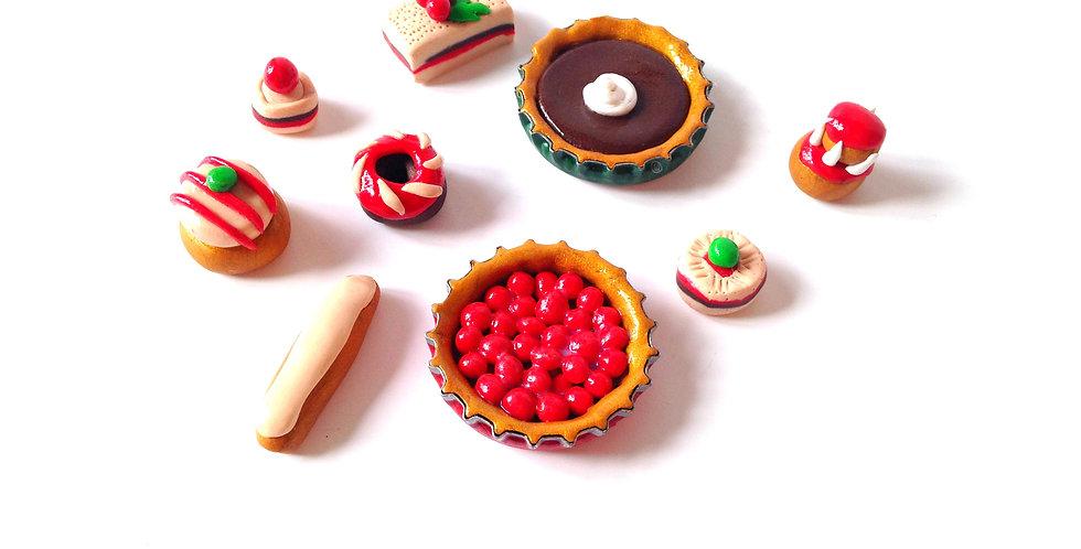 Gâteaux miniatures, 1/8 ème, ensemble de 9 gâteaux