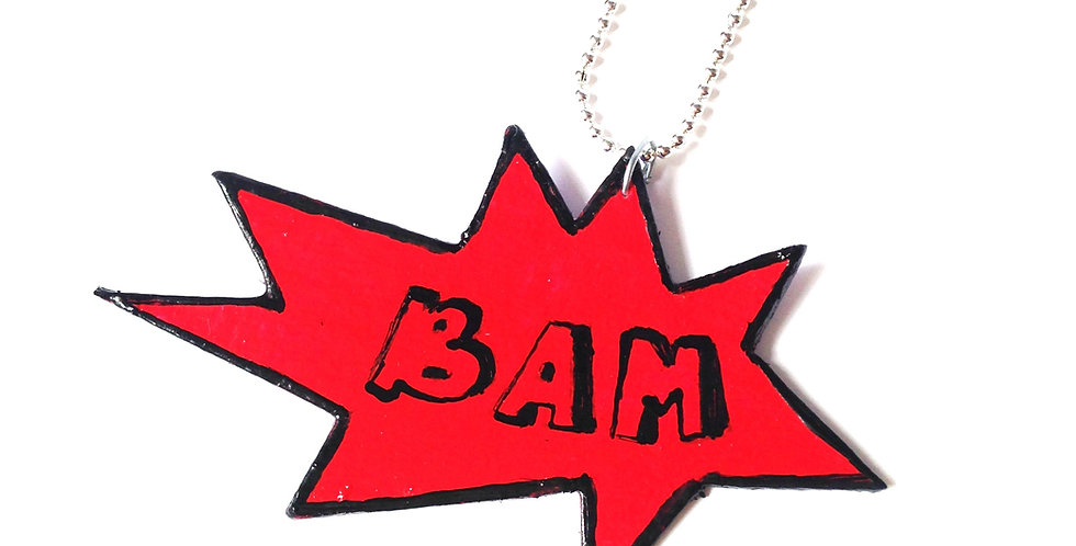 Collier BAM, onomatopée, carton peint
