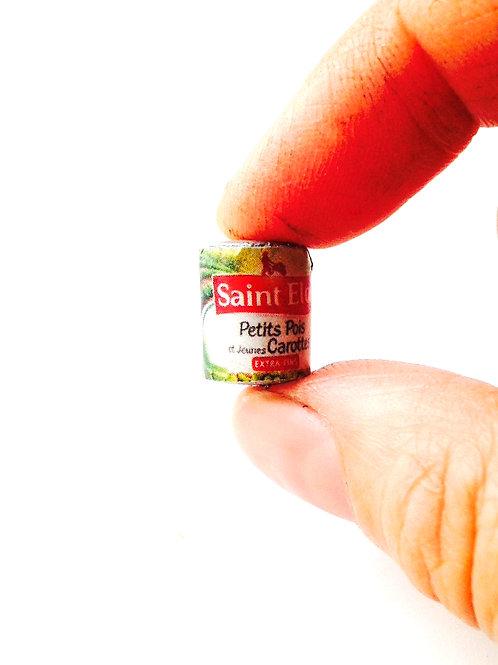 Boïte de petits pois carottes miniature, faite main