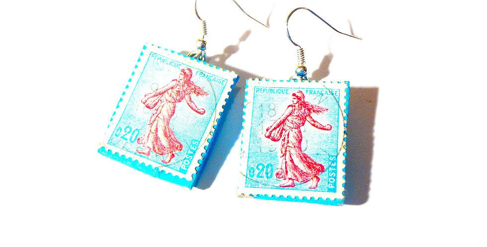 Boucles d'oreilles LA BELLE SEMEUSE, timbres vintage
