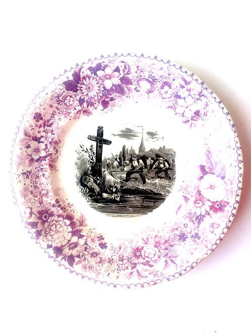 Assiette ancienne Lunéville, type assiette parlante, scène pastorale, mauve