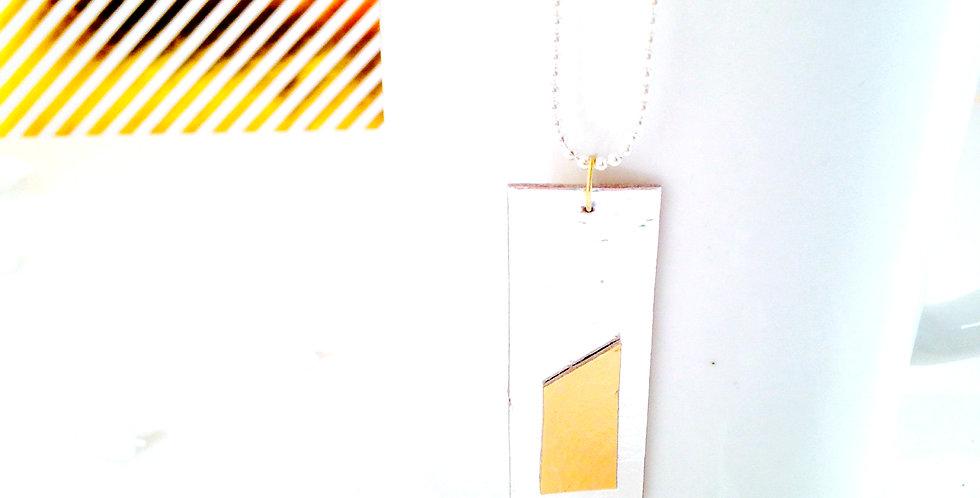 Sautoir MIROIR, carton recyclé argenté doré, chaîne longue