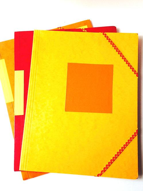 Chemises ou pochettes cartonnées avec rabats à élastiques, orange recyclage