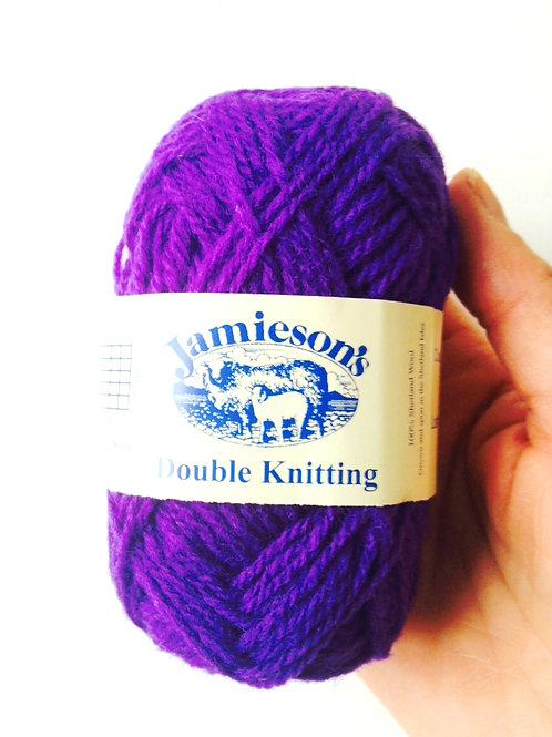 Pelote de laine 100% SHETLAND, double knitting, violet