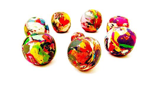 Perles - Grosses perles, pâte polymère, modelées à la main multicolores