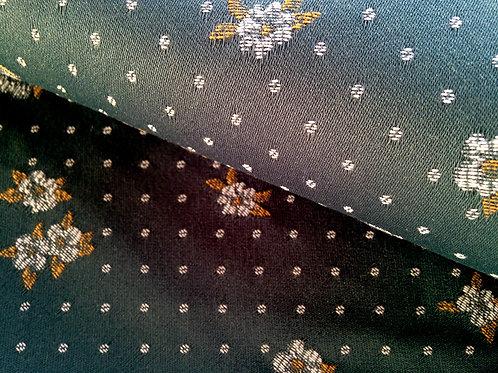 Coupon de tissu tapissier, vert foncé satiné, pois,  petites fleurs jaunes