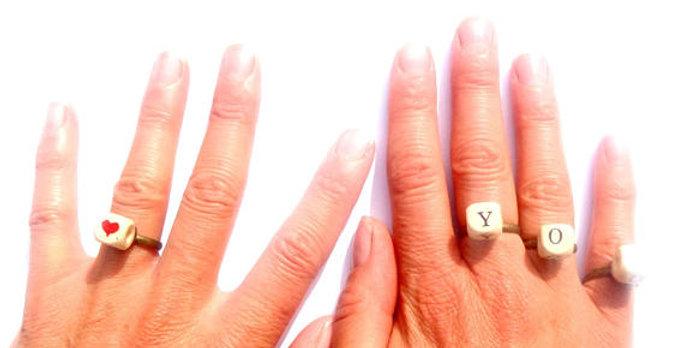 Bague F. YOU, OR LOVE YOU, ensemble de 7 bagues à humeur variable