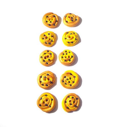 Lot de 10 boutons faits main Petits pains aux raisins par saucisse