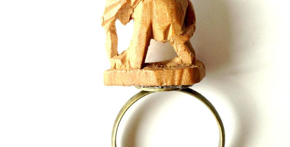 Bague ELEPHANT DE BOIS, bois sculpté de Birmanie