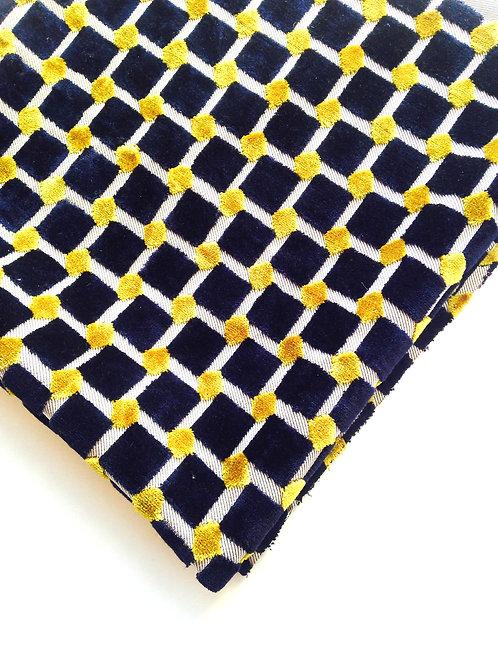 Tissu -- Velours fantaisie, quadrillage bleu marine et jaune coupon 58x108