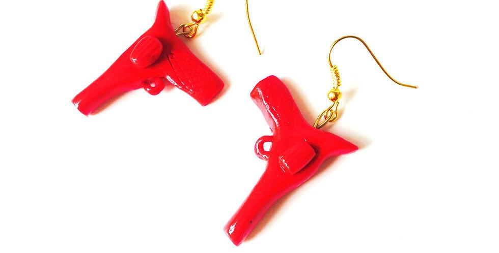 Boucles CALAMITY JANE, pistolets miniatures rouges