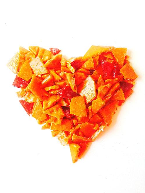Tesselles de mosaïque, pâte de verre, 100 grs  de brisures oranges