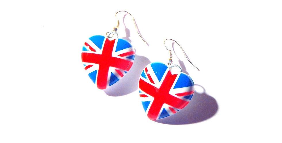 Boucles coeur CLUBBING IN LONDON, drapeau anglais