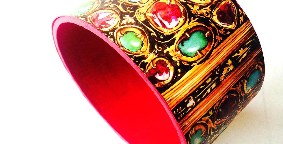 Bracelet manchette Livre d'heure 1532 reliure en or émaillée rubis turquoises