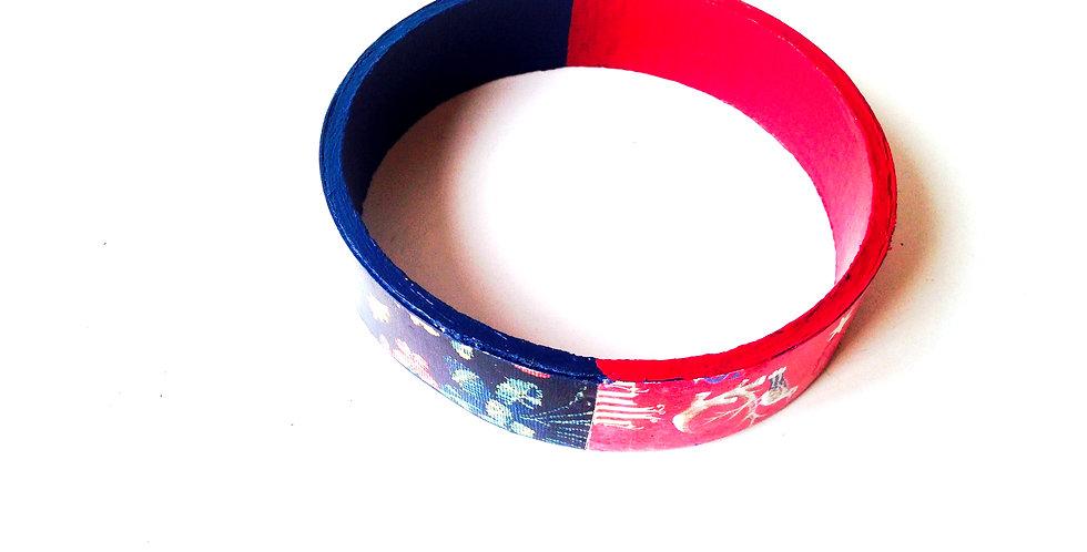 Bracelet fin BICOLORE, médiéval, bleu et rouge