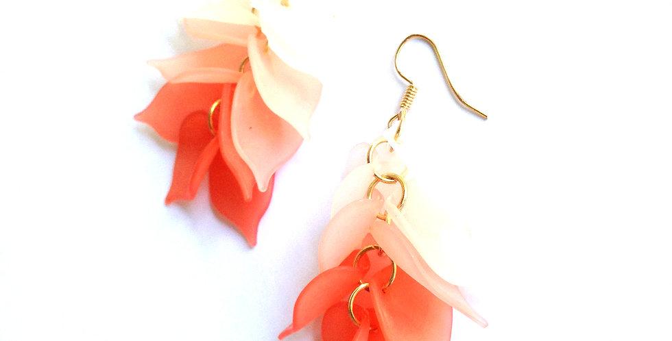 Boucles d'oreilles CASCADE CORAIL, translucide