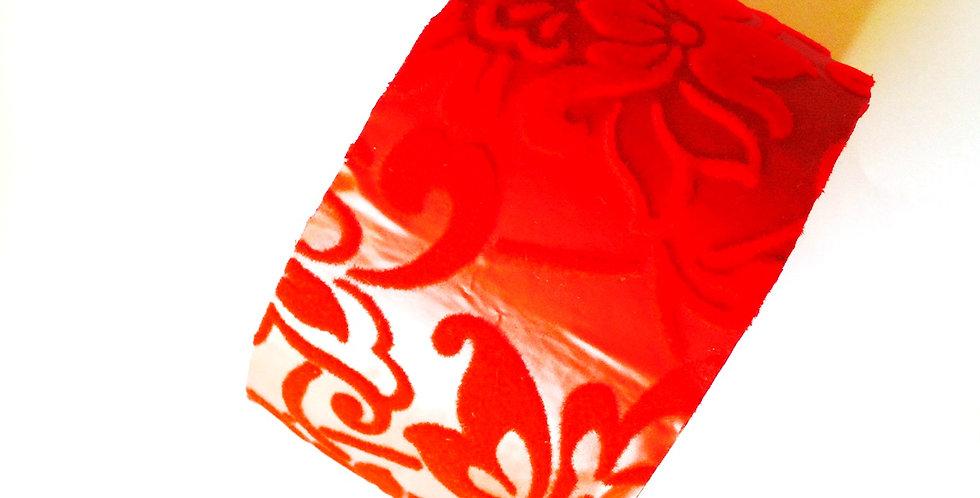 Bracelet ARABESQUES, rouge en carton recyclé brocart velours