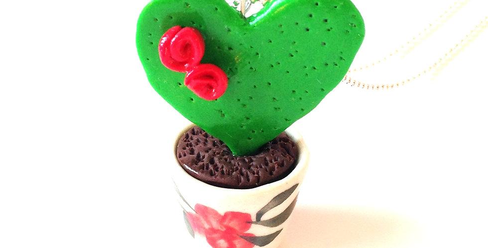 Sautoir COEUR DE CACTUS, cactus miniature en pot