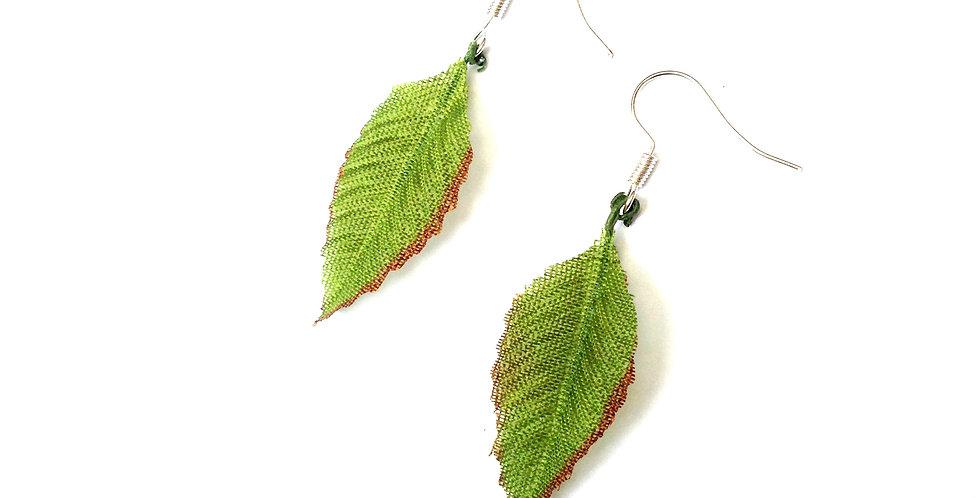 Boucles d'oreilles FEUILLETTES, vert, petit modèle