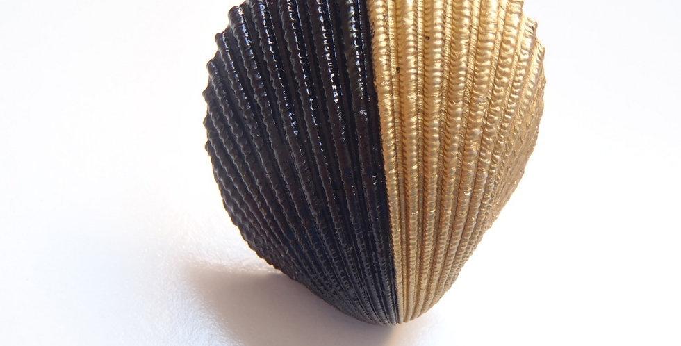Bague coquillage NOIR ET OR, ajustable