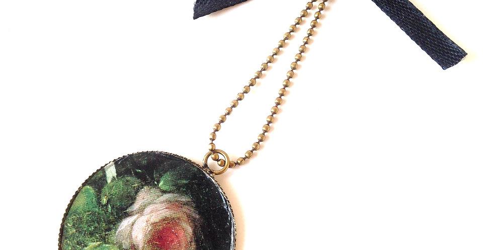 Sautoir ROMANTIQUE, NOIR, rose & chaîne bronze