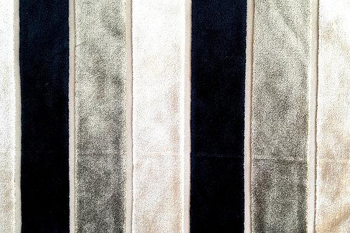 Mini coupon de tissu velours, à rayures, bande, noir / taupe / crème  63 x 20 cm