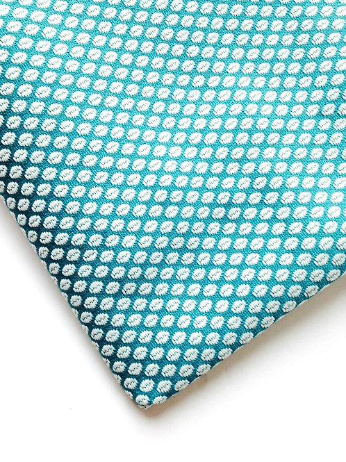 Tissu toile soyeuse turquoise motifs grains de café chute de tissu en T