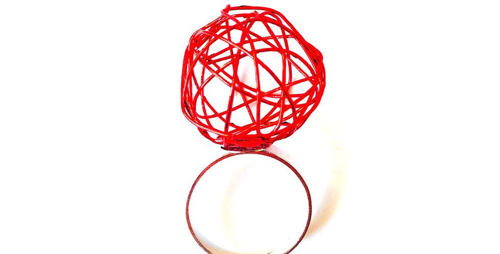 Bague Mini Sphère, Rouge, ajustable