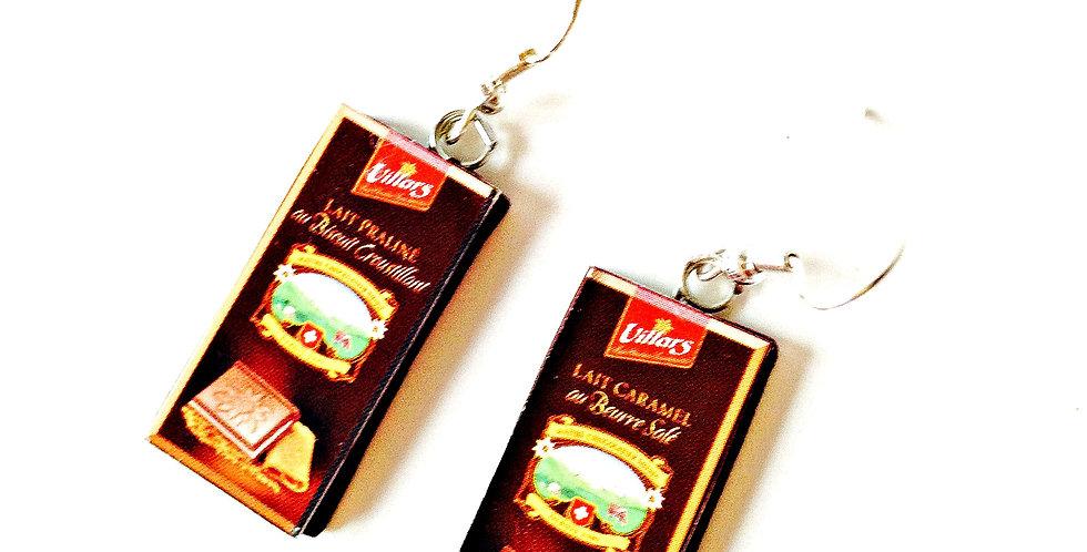 Boucles d'oreilles LE CHOCOLAT, plaques miniatures