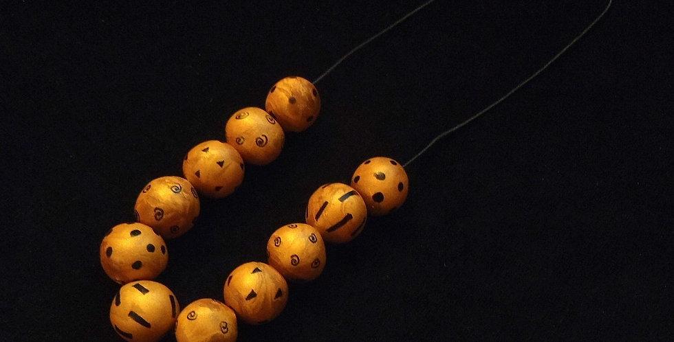 Collier DÉESSE ART DÉCO, modelé à la main, boules dorées / noires