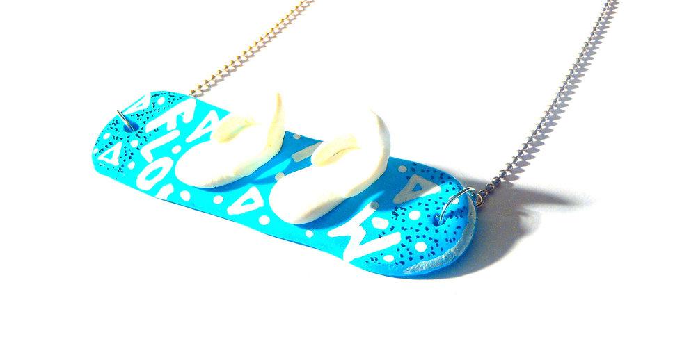 Sautoir LE P'TIT SNOWBOARD, bleu turquoise