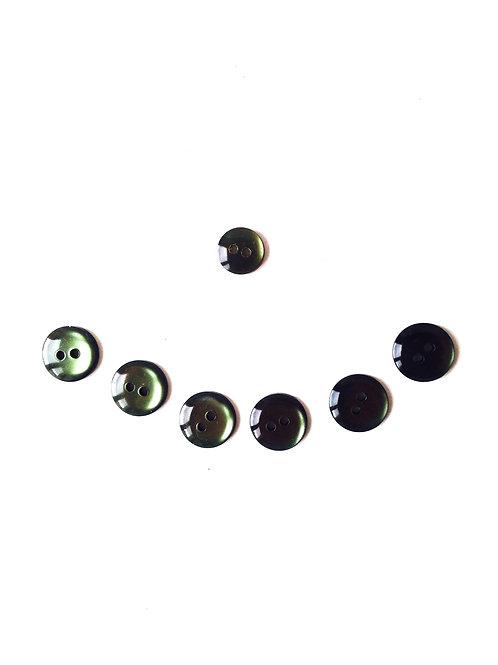 Boutons - Lot de 7 boutons ronds kaki jolis endroit ou envers, résine