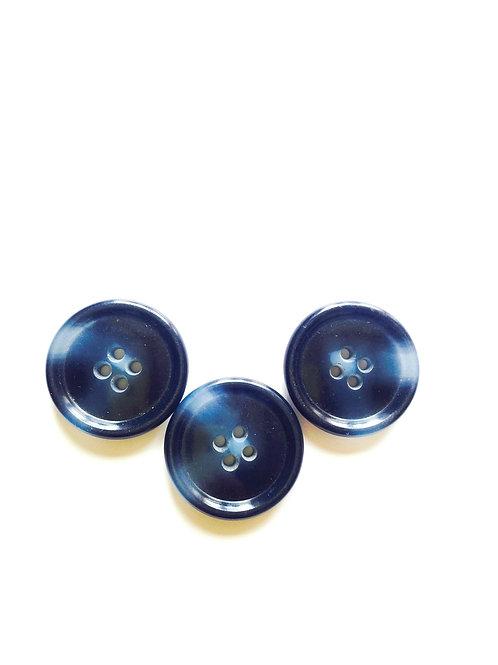 Lot de 3 jolis boutons à effets de matière, bleu pétrole / bleu jean