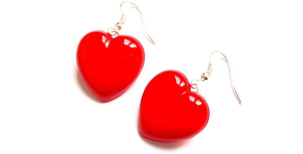 Boucles d'oreilles MISS LONELY HEARTS, coeurs rouges