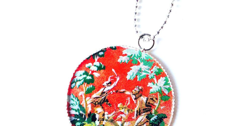 Sautoir LE FAUNE, motif floral, rouge et vert par The Sausage