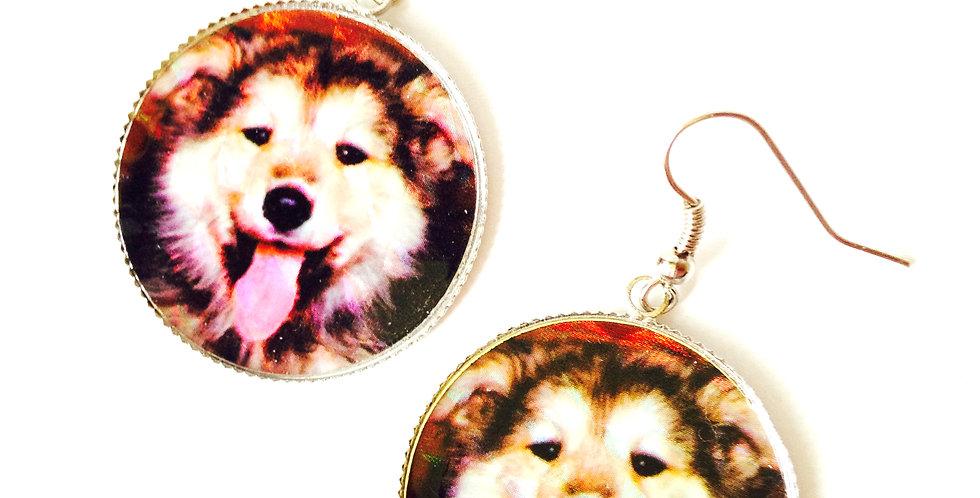 Boucles d'oreilles LE HUSKINOU, chien husky