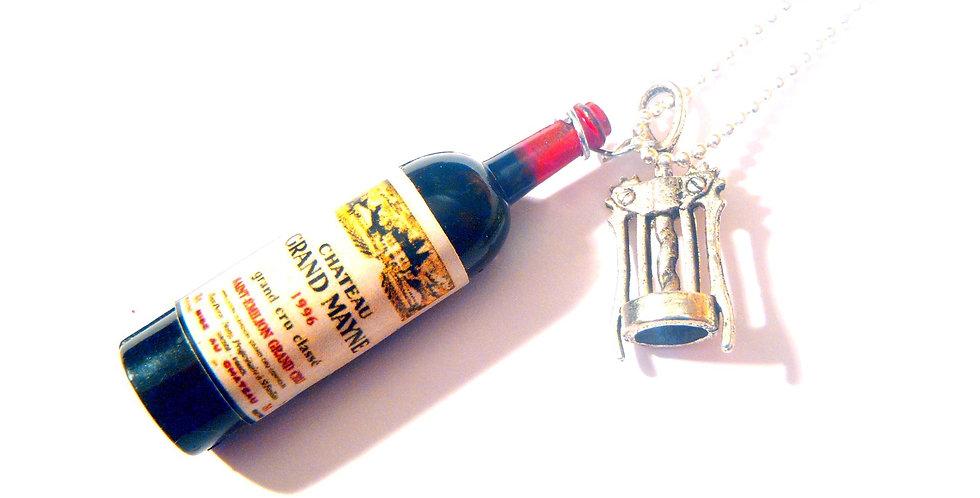 Sautoir LE PIF, bouteille de vin miniature avec tire bouchon