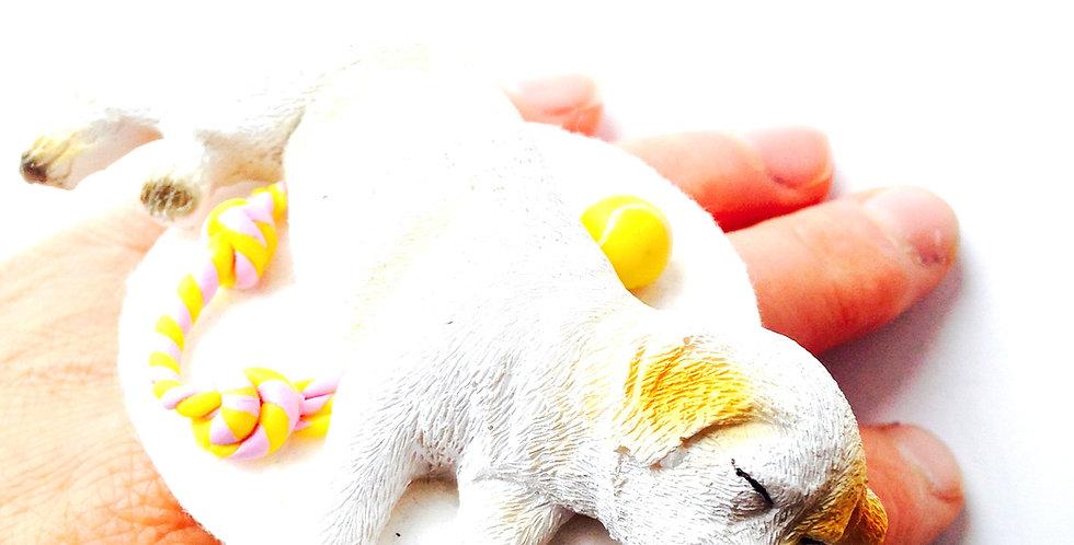 Bague marrante LA SIESTE DU DOGGY, chien labrador miniature avec jouets