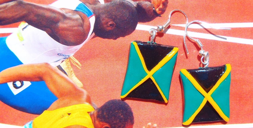 Boucles JAMAICA, GO USAIN, drapeau jamaicain miniature
