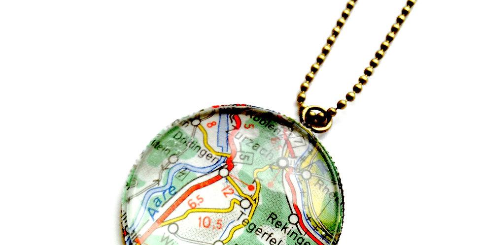 Sautoir A LA CARTE, carte routière bronze