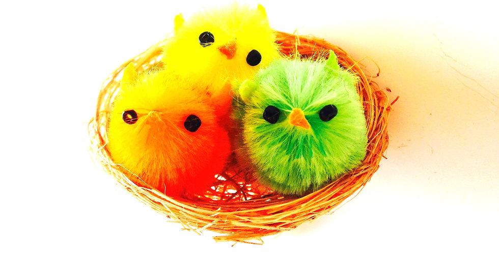 Bague TOUS AU NID !!  oisillons miniatures dans leur nid !