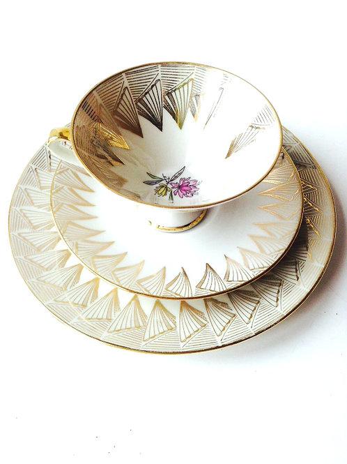 Tasse et soucoupe + assiette à dessert, solitaire fine porcelaine Bavaria
